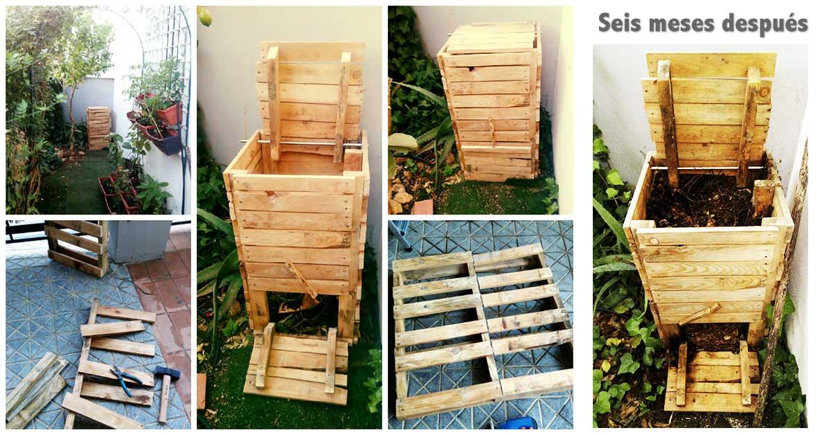 Compostera de palets casera seis meses despu s - Cuanto cuesta un palet de madera ...