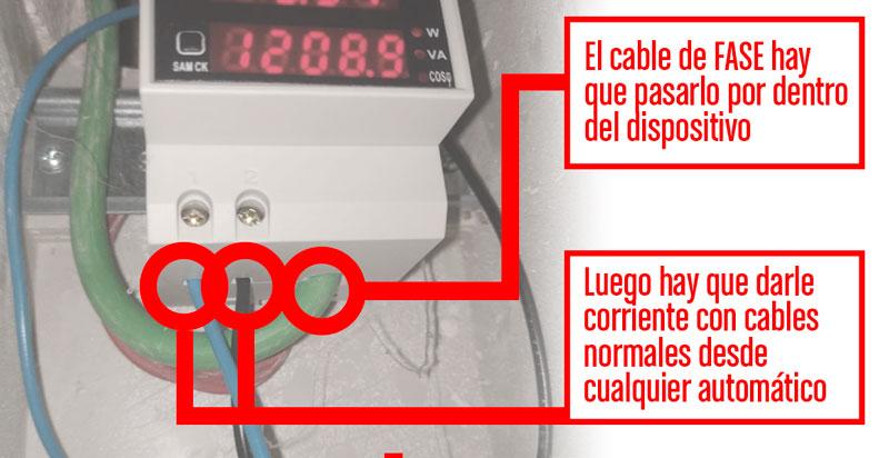 Esquema de la disposición de los cables del medidor de consumo eléctrico.