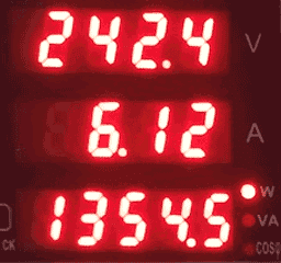 Detalle del consumo instantáneo cuando estamos en casa trabajando con el AA y los ordenadores. 1.354W.